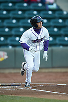 Nick Madrigal (3) of the Winston-Salem Dash starts down the first base line against the Wilmington Blue Rocks at BB&T Ballpark on April 15, 2019 in Winston-Salem, North Carolina. The Dash defeated the Blue Rocks 9-8. (Brian Westerholt/Four Seam Images)
