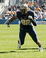 Pitt defensive lineman Rori Blair. The Pitt Panthers football team defeated the Virginia Cavaliers 26-19 on Saturday October 10, 2015 at Heinz Field, Pittsburgh, Pennsylvania.