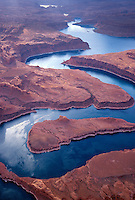 The double-back meandering of canyons now filled with the waters of Lake Powell
