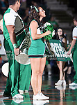 North Texas Mean Green cheerleaders in action during the NCAA  basketball game between the Arkansas State Red Wolves and the University of North Texas Mean Green at the North Texas Coliseum,the Super Pit, in Denton, Texas. UNT defeated Arkansas State 83 to 64..
