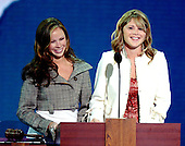 New York, NY - September 1, 2004 --  Jenna and Barbara Bush, twin daughters of United States President George W. Bush and his wife, Laura, introduce White House Chief of Staff Andrew Card at the 2004 Republican Youth Convention in Madison Square Garden in New York on September 1, 2004..Credit: Ron Sachs / CNP.(RESTRICTION: No New York Metro or other Newspapers within a 75 mile radius of New York City)