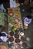 Sao Paulo, Brazil. Buffet table laden with the dishes of a typical Saturday lunch feijoada.
