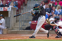 Kane County Cougars outfielder Albert Almora #2 hits a home run during a game against the Cedar Rapids Kernels at Veterans Memorial Stadium on June 8, 2013 in Cedar Rapids, Iowa. (Brace Hemmelgarn/Four Seam Images)