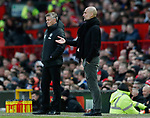 Ole Gunnar Solskjaer manager of Manchester United side by side with Josep Guardiola manager of Manchester City during the Premier League match at Old Trafford, Manchester. Picture date: 8th March 2020. Picture credit should read: Darren Staples/Sportimage