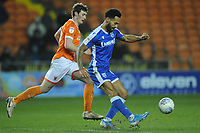 Gillingham's Jordan Roberts under pressure from Blackpool's Matty Virtue<br /> <br /> Photographer Kevin Barnes/CameraSport<br /> <br /> The EFL Sky Bet League One - Blackpool v Gillingham - Tuesday 11th February 2020 - Bloomfield Road - Blackpool<br /> <br /> World Copyright © 2020 CameraSport. All rights reserved. 43 Linden Ave. Countesthorpe. Leicester. England. LE8 5PG - Tel: +44 (0) 116 277 4147 - admin@camerasport.com - www.camerasport.com