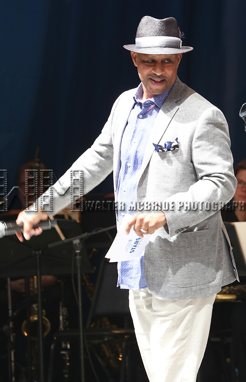 Ruben Santiago-Hudson on stage at United Airlines Presents #StarsInTheAlley free outdoor concert in Shubert Alley on 6/2/2017 in New York City.