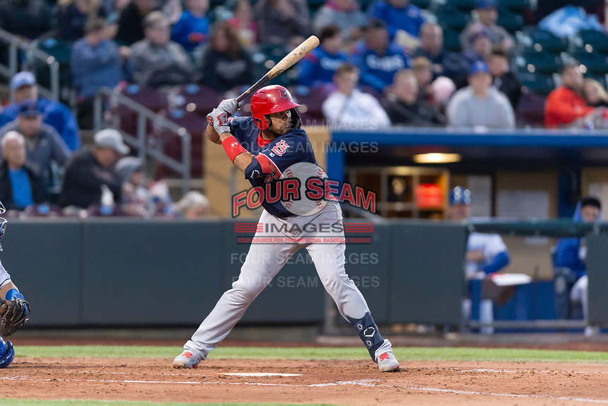 Memphis Redbirds catcher Francisco Pena (28) during a Pacific Coast League game against the Omaha Storm Chasers on April 26, 2019 at Werner Park in Omaha, Nebraska. Memphis defeated Omaha 7-3. (Zachary Lucy/Four Seam Images)