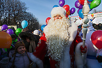 Moscow, Russia, 24/12/2012..In temperatures of below minus 20 Centigrade Moscow's official Ded Moroz, or Father Frost, launches the city's forthcoming New Year celebrations after arriving at Gorky park on an open top bus.