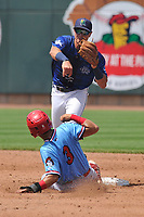 Cedar Rapids Kernels second baseman Andrew Bechtold (7) in action as the Peoria Chiefs Irving Lopez (3) slides into second base at Veterans Memorial Stadium on June 17, 2018 in Cedar Rapids, Iowa. The Chiefs won 12-3.  (Dennis Hubbard/Four Seam Images)