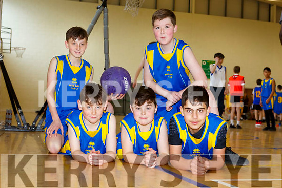Sean Morris, Mark Carmody, Ghazi Zazkr, Noah Townsend and Tiernan O'Carroll of Balloonagh NS at the  CBS Hoops Basketball bliz in the John Mitchels complex on Friday morning last.