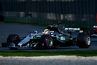 March 26, 2017: Lewis Hamilton (GBR) #44 from the Mercedes AMG Petronas team rounds turn three at the 2017 Australian Formula One Grand Prix at Albert Park, Melbourne, Australia. Photo Sydney Low