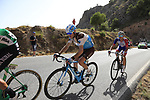 Cristian Rodriguez Martin (ESP) Caja Rural-Seguros RGA, Hubert Dupont (FRA) AG2R La Mondiale and Rudy Molard (FRA) Groupama-FDJ on the slopes of Sierra de la Alfaguara  during Stage 4 of the La Vuelta 2018, running 162km from Velez-Malaga to Alfacar, Sierra de la Alfaguara, Andalucia, Spain. 28th August 2018.<br /> Picture: Eoin Clarke   Cyclefile<br /> <br /> <br /> All photos usage must carry mandatory copyright credit (&copy; Cyclefile   Eoin Clarke)