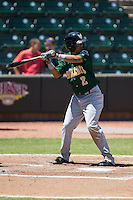 Yhoxian Medina (2) of the Lynchburg Hillcats at bat against the Winston-Salem Dash at BB&T Ballpark on August 2, 2015 in Winston-Salem, North Carolina.  The Hillcats defeated the Dash 8-3.  (Brian Westerholt/Four Seam Images)