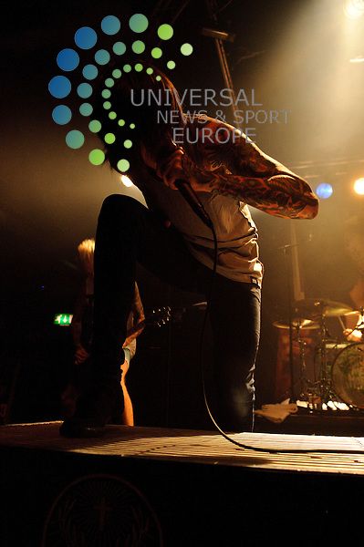 Oliver Sykes of English Metalcore band, Bring Me The Horizon performing at the Garage venue in Glasgow...The Garage, Sauchiehall St, Glasgow , Scotland .  Picture: Euan Anderson/Universal News And Sport (Scotland) 21st September 2010.