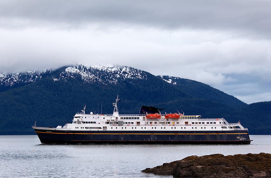 Alaska Marine ferry Matanuska in Stikine Strait approaching Wrangell, Alaska