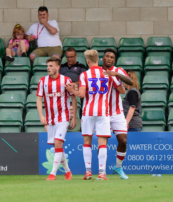Stoke City's Tyrese Campbell, right, celebrates scoring the opening goal with team-mate Lasse Sorensen<br /> <br /> Photographer Chris Vaughan/CameraSport<br /> <br /> Football Pre-Season Friendly - Lincoln City v Stoke City - Wednesday July 24th 2019 - Sincil Bank - Lincoln<br /> <br /> World Copyright © 2019 CameraSport. All rights reserved. 43 Linden Ave. Countesthorpe. Leicester. England. LE8 5PG - Tel: +44 (0) 116 277 4147 - admin@camerasport.com - www.camerasport.com