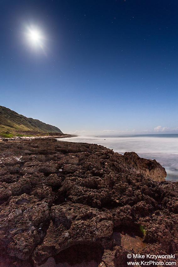 Ka'ena Point shoreline under a full moon at night, Mokuleia, Oahu