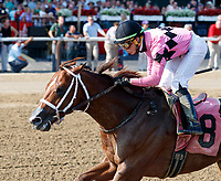 American Power (no. 8) wins Race 7, Aug. 5, 2018 at the Saratoga Race Course, Saratoga Springs, NY.  Ridden by Irad Ortiz, Jr., and trained by Jason Servis, American Power finished a length in front of What a Catch (no. 4).  (Photo credit: Bruce Dudek/Eclipse Sportswire)