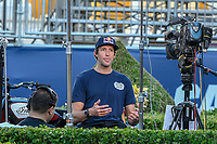 Las Vegas, NV- JULY 6: Travis Pastrana tapes segment on the Las Vegas Strip before his Evel Knievel jump attempt on Las Vegas at Caesars Place in Las Vegas, NV on July 6, 2018. <br /> CAP/MPI/DAM<br /> &copy;DAM/MPI/Capital Pictures