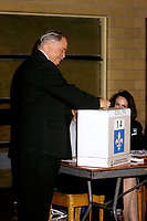 FILE PHOTO -  Jacques  Parizeau au bureau de vote avant<br /> La defaite du camp du OUI lors du referendum, le 30 Octobre 1995<br /> <br /> PHOTO : Pierre Roussel<br />  - Agence Quebec Presse