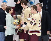 Kevin Hayes, Shelagh Hayes, Kevin Hayes (BC - 12), Bill Arnold (BC - 24), Dave Arnold - The visiting University of Notre Dame Fighting Irish defeated the Boston College Eagles 2-1 in overtime on Saturday, March 1, 2014, at Kelley Rink in Conte Forum in Chestnut Hill, Massachusetts.