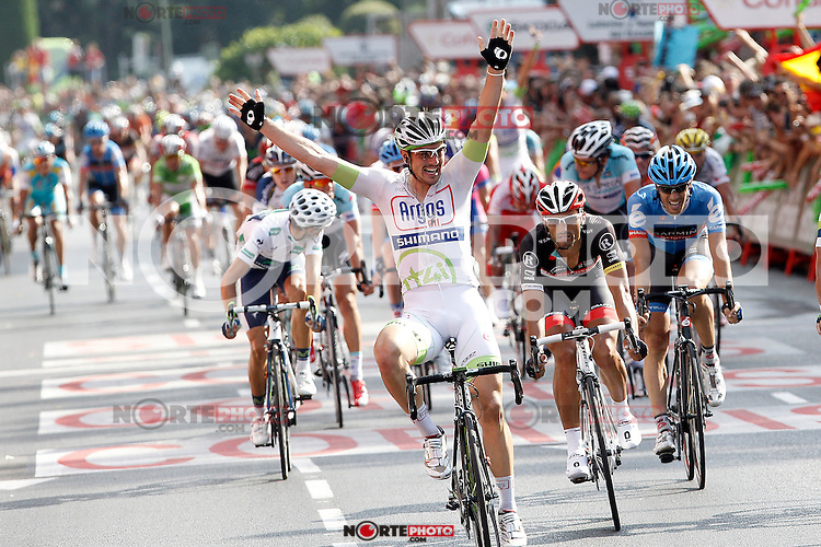 John Degenkolb comes winner to the finish line in the stage of La Vuelta 2012 beetwen Cercedilla and Madrid.September 9,2012. (ALTERPHOTOS/Acero)