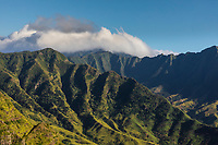 Wai'anae Range scenic view, seen from a hiking trail, West O'ahu.