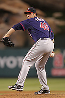 Minnesota Twins pitcher Carl Pavano #48 pitches against the Los Angeles Angels at Angel Stadium on September 2, 2011 in Anaheim,California. Minnesota defeated Los Angeles 13-5.(Larry Goren/Four Seam Images)