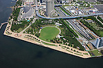 Shiokaze Park: Tokyo, Japan: Aerial view of proposed venue for the 2020 Summer Olympic Games. (Photo by AFLO)