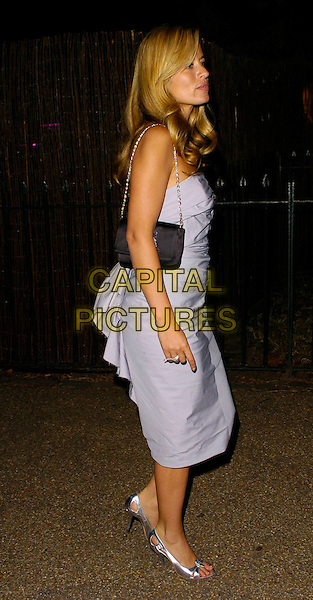 JADE JAGGER.The Serpentine Gallery Summer Party, London, UK..July 11th, 2006.Ref: CAN.full length grey gray blue strapless dress purse silver shoes.www.capitalpictures.com.sales@capitalpictures.com.©Capital Pictures
