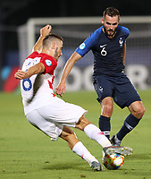 Nikola Vlasic of Croatia and Lucas Tousart of France compete for the ball<br /> Serravalle 21-06-2019 Stadio San Marino Stadium <br /> Football UEFA Under 21 Championship Italy 2019<br /> Group Stage - Final Tournament Group C<br /> France - Croatia<br /> Photo Cesare Purini / Insidefoto