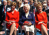 Washington, D.C. - May 29, 2004 -- Left to right: First Lady Laura Bush, former first lady Barbara Bush aand United States Senator Elizabeth Dole (Republican of North Carolina) at the dedication of the World War Two Memorial in Washington, D.C. on May 29, 2004..Credit: Ron Sachs / CNP