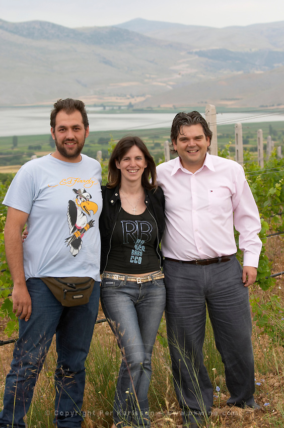 George Kotsiou, vineyard manager, Artemis Toulaki, oenologist winemaker, George Veranis, sales director. Amyntaion wine cooperative, Amyndeon, Macedonia, Greece