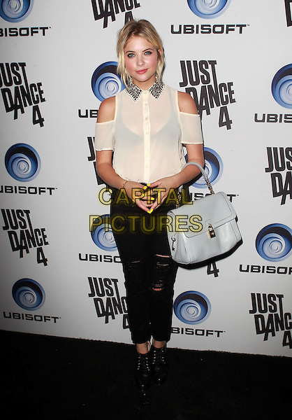 Ashley Benson.Ubisoft Presents The Launch Of Just Dance 4 held at Lexington Social House, Hollywood, California, USA..October 2nd, 2012.full length white sheer blouse shirt cut out away shoulders gold collar see through thru bra trousers black grey gray bag purse .CAP/ADM/FS.©Faye Sadou/AdMedia/Capital Pictures.