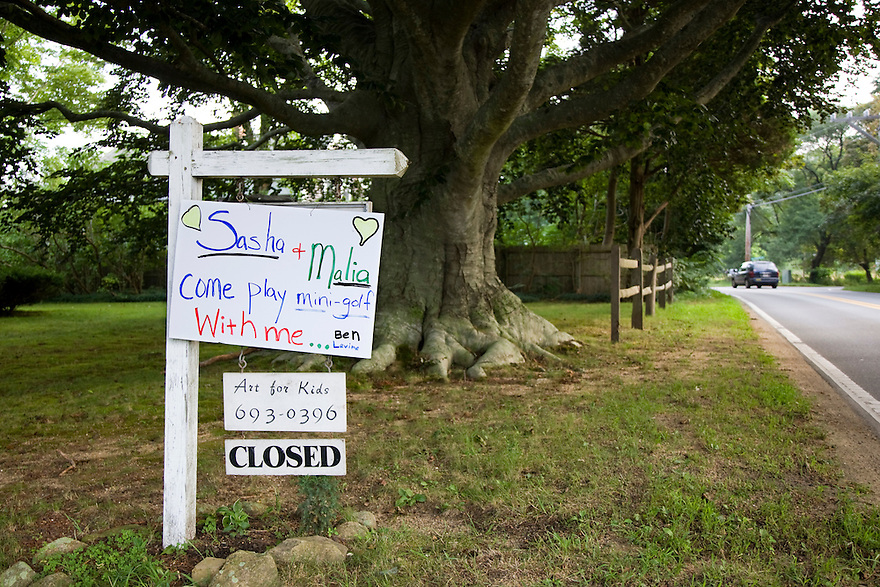 A sign inviting the Obama children to play alongside a road in West Tisbury on Martha's Vineyard.   President Obama is spending a week long vacation with his family on the island...