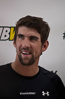 "Olympic medalist Michael Phelps attends the ""Official Training Restaurant of the Phelps Family"" and event organized by the food company ""Subway"" in New York, United States. 15/10/2012. Photo by Kena Betancur/VIEWpress."