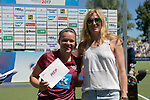 GER - Mannheim, Germany, May 27: During the women semi-final match between UHC Hamburg and Rot-Weiss Koeln at the Final4 tournament May 27, 2017 at Am Neckarkanal in Mannheim, Germany. (Photo by Dirk Markgraf / www.265-images.com) *** Local caption *** Charlotte Stapenhorst #12 of Uhlenhorster HC Hamburg