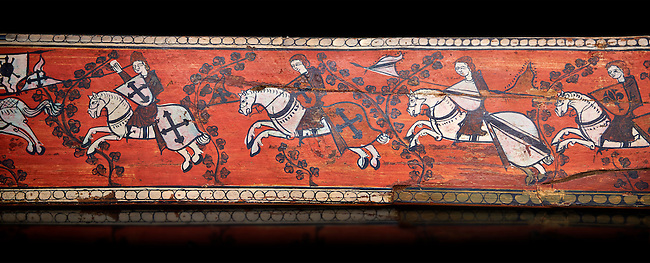 Gothic decorative painted beam panels with gknights on horses, Tempera on wood. National Museum of Catalan Art (MNAC), Barcelona, Spain, Against a black background.