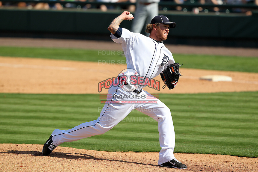 Detroit Tigers Ryan Perry #45 during a exhibition game vs. the Florida Southern Mocs at Joker Marchant Stadium in Lakeland, Florida;  February 25, 2011.  Detroit defeated Florida Southern 17-5.  Photo By Mike Janes/Four Seam Images