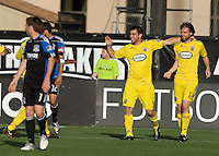 Jason Garey of the Crew celebrates with Eddie Gaven of the Crew after Gaven scored a goal during the first half of the game against the Earthquakes at Buck Shaw Stadium in Santa Clara, California.  San Jose Earthquakes tied Columbus Crew, 2-2.