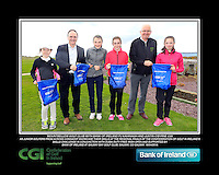 Mountbellew Golf Club Girls with PJ Kavanagh from Bank of Ireland and Justin O'Byrne from CGI.<br /> Junior golfers from across connacht practicing their skills at the regional finals of the Dubai Duty Free Irish Open Skills Challenge supported by Bank of Ireland at Galway Bay golf club, Galway, Co Galway. 2/04/2016.<br /> Picture: Golffile | Fran Caffrey<br /> <br /> <br /> All photo usage must carry mandatory copyright credit (© Golffile | Fran Caffrey)