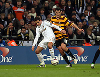 Pictured: (L-R) Angel Rangel and Carl McHugh. Sunday 24 February 2013<br /> Re: Capital One Cup football final, Swansea v Bradford at the Wembley Stadium in London.