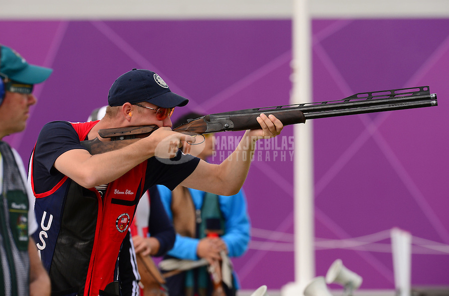 Aug 2, 2012; Greenwich, United Kingdom; Walton Eller (USA) during the men's double trap competition at the London 2012 Olympic Games at Royal Artillery Barracks. Mandatory Credit: Mark J. Rebilas-USA TODAY Sports