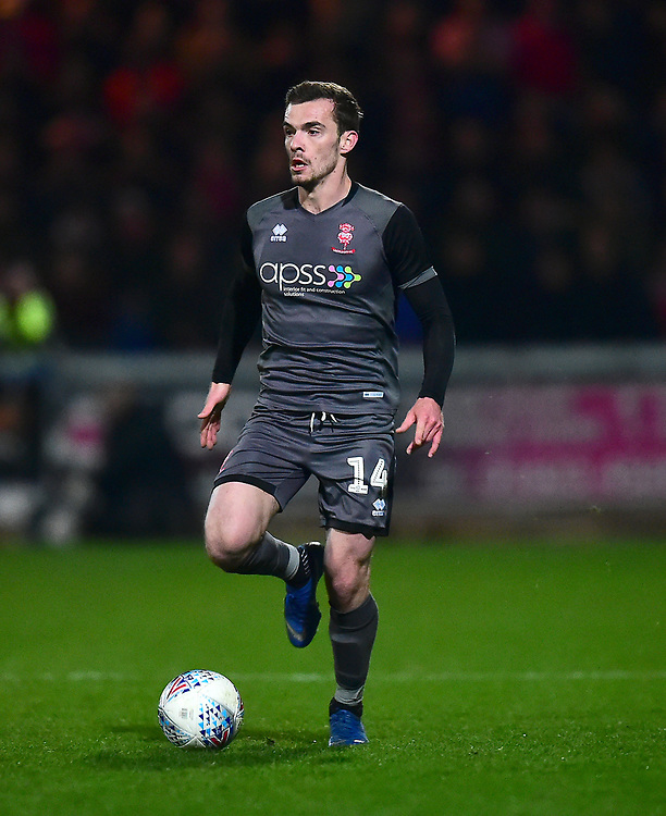 Lincoln City's Harry Toffolo<br /> <br /> Photographer Andrew Vaughan/CameraSport<br /> <br /> The EFL Sky Bet League Two - Mansfield Town v Lincoln City - Monday 18th March 2019 - Field Mill - Mansfield<br /> <br /> World Copyright © 2019 CameraSport. All rights reserved. 43 Linden Ave. Countesthorpe. Leicester. England. LE8 5PG - Tel: +44 (0) 116 277 4147 - admin@camerasport.com - www.camerasport.com
