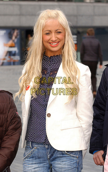 "CHANTELLE HOUGHTON.Launch of ""Bullywatch"" charity - press launch & photocall outside Greater London Authority, City Hall, London, UK.  .March 22nd, 2006.Ref: BEL.half length white pinstripe jacket blue polka dot top.www.capitalpictures.com.sales@capitalpictures.com.© Capital Pictures."