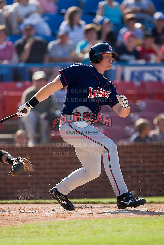 Nick Weglarz (8) of the Kinston Indians follows through on his swing versus the Winston-Salem Warthogs at Ernie Shore Field in Winston-Salem, NC, Saturday, May 17, 2008.