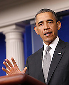 United States President Barack Obama makes a statement on the progress of the investigation of the terrorist attack in Boston in the White House Press Briefing room in Washington, D.C. on April 16, 2013. .Credit: Dennis Brack / Pool via CNP