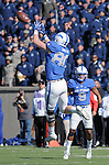 October 24, 2015 - Colorado Springs, Colorado, U.S. - Air Force tight end, Garrett Griffin #80, goes high for a pass during the NCAA Football game between the Fresno State Bulldogs and the Air Force Academy Falcons at Falcon Stadium, U.S. Air Force Academy, Colorado Springs, Colorado.  Air Force defeats Fresno State 42-14.