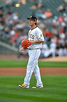 Salt Lake Bees starting pitcher Tim Lincecum (27) during the game against the Round Rock Express in Pacific Coast League action at Smith's Ballpark on August 15, 2016 in Salt Lake City, Utah. Round Rock defeated Salt Lake 5-4.  (Stephen Smith/Four Seam Images)