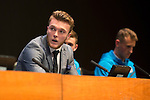 St Johnstone FC Academy Awards Night...06.04.15  Perth Concert Hall<br /> Zander Clark answers questions<br /> Picture by Graeme Hart.<br /> Copyright Perthshire Picture Agency<br /> Tel: 01738 623350  Mobile: 07990 594431